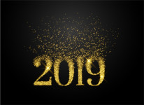 2019 written in sparkles and glitter style